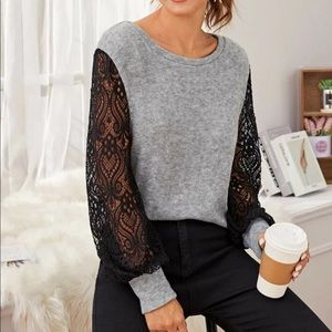 Contrast Lace Bishop Sleeve Sweater